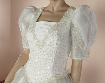 White Wedding Dress 80s – Vintage bridal gown from 1980s - Puff sleeves dress -