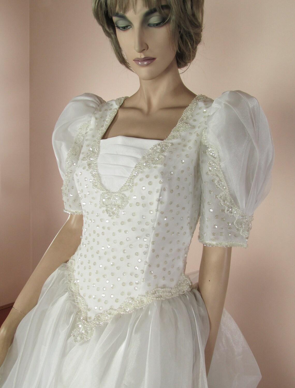 Weißes Hochzeitskleid 80er Jahre-Vintage Brautkleid 80er