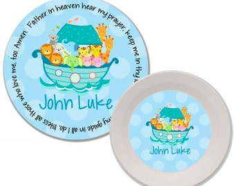 Personalized Melamine Plate and Bowl Set - Mealtime Set - Kids Dinnerware Set - Childs Plate Set - Kids Plate and Bowl Set - Noah's Ark Blue