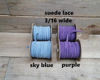 3/16 wide Leather / Suede Lace, sky blueor purple 25 ft Bracelet Cord/Necklace f-11