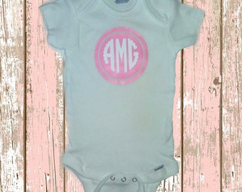 Scalloped Monogrammed bodysuit
