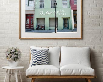 """Architecture Photography, Large Wall Art Print, French Home Decor, Fine Art Print, New Orleans, Green Facade, Scooter, """"Delacroix"""""""