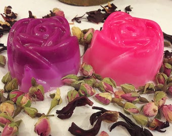 2 Large Rose Soaps, Ping & Purple Ombre Gift Soaps, Guest Soap, Decoration Soap, Girly Cute Soap, Scented Soap, Gift for her, Mother's gift
