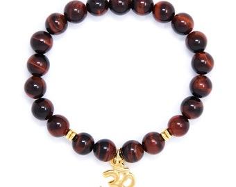 Om Bracelet, Wrist Mala Bead Bracelet, Buddhist Jewelry, Red Tiger Eye - For Motivation & Goal Accomplishment