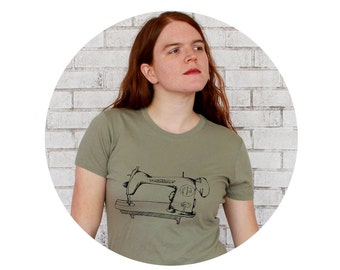 Sewing Machine T Shirt, Light Olive Drab Ladies Cotton Crewneck Tshirt, Graphic Tee,  Seamstress Shirt Gift For Crafter, Screenprint Top