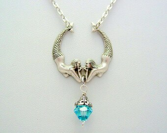 Mystical Twin Mermaids with Swarovski Element Aquamarine Crystal Necklace