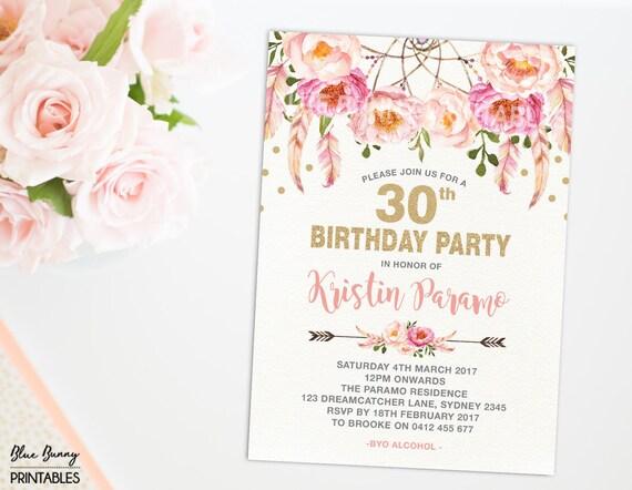 Boho 30th birthday invitation 16th 21st 40th 50th 60th 70th like this item filmwisefo Images