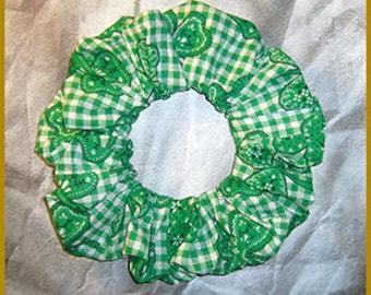 Bandanna Shamrocks Hair Scrunchie, Bandanna & Green Gingham Ponytail Holder, St. Patrick's Day Themed Fabric Hair Tie
