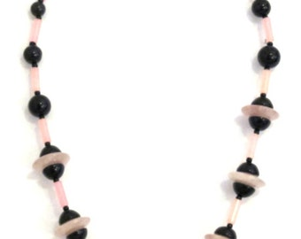 Art-deco style pink and black gemstone necklace with jade and onyx