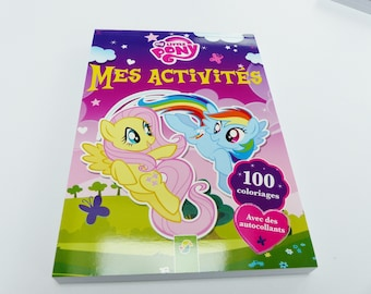 book block 100 activities child play My Little pony sticker shade difference way labrinthe coloring points stickers + connect