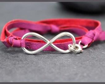 INFINITY Pink OSTRICH II Sterling Silver Bracelet