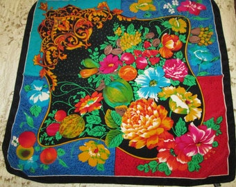 Vintage Silk Scarf Vibrant Colors very detailed Flowers and Melons Large Size