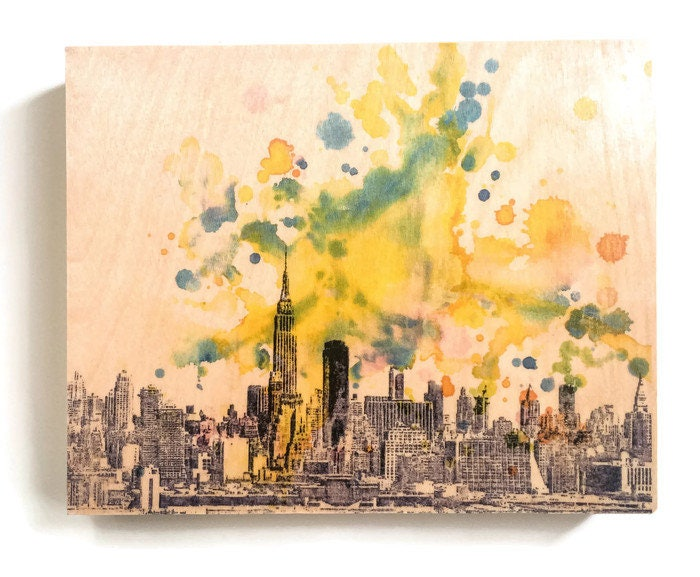 New York Skyline Art Print from Original Watercolor Painting