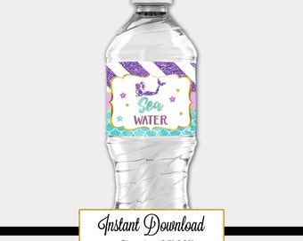 Printable Mermaid Waterbottle Label, Party Decoration, Baby Shower, Birthday, Under the Sea Party A-073