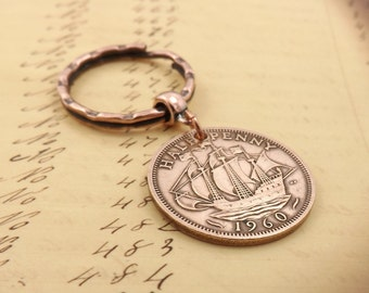 Genuine 1971 British Penny Small Coin Keyring Keychain 47th