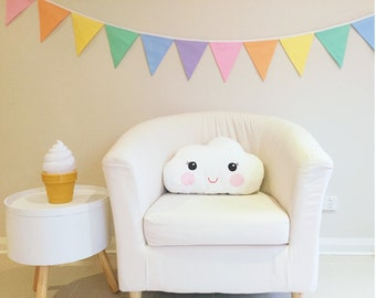 Pastel Coloured Rainbow Fabric Bunting