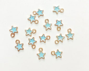 10 mini charms gold blue enameled Stars 9 * 7mm approx