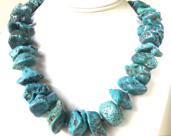Turquoise Necklace, Natural Blue Turquoise Necklace, Bold and Chunky Fringe Nugget Turquoise