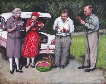 In Loco Delicioso, Original Painting, In a Pleasant Place, Picnic, Watermelon, Car Trip, Summer, Retro, Vintage, Al Fresco, 1950s, Friends