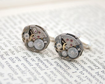 Clockwork Cufflinks Steampunk Mens Jewelry Christmas Gifts for Guys Oval Sterling Silver Cufflinks Watch Movements Cuff Link