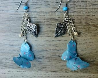 boucles d'oreilles papillon bleu origami