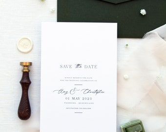 Antoinette Save the Date Cards, Premium Paper, Save the Date cards Printable or Printed, Digital File Save the Date, Forest Green