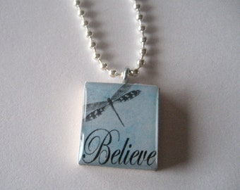 Believe with a Dragonfly Scrabble Tile Necklace