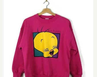 Winter Sale 40% Off Looney Tunes Tweety Six Flags Sweatshirt from 90's /Catoon/Pink*