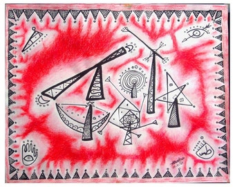 Baghdad Fair,  Abstract Arabic Art,  Modern Arab Art, Theem park, 16x20 inch Drawing