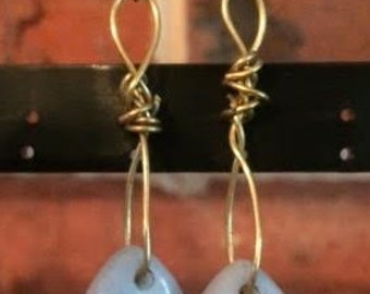 Amazonite Drop Earrings with Copper Wire