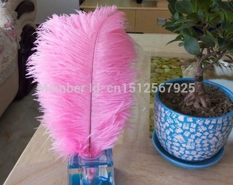 Hot! Sale 50-200 PCS / lot Pink Ostrich Feathers 10-12 inches / 25-30cm DIY Wedding Decorations Interiors