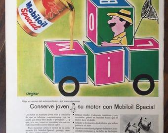 Mobiloil Special, (1959) Vintage ad - Raymond Savignac