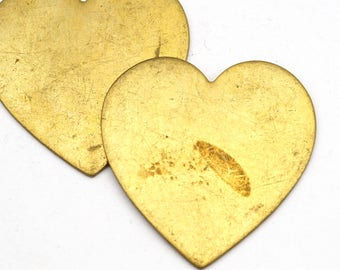 2 pcs blank brass heart stampings, vintage great for texturing and stamping 32mm