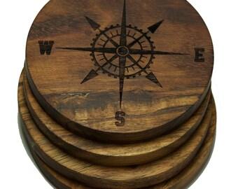 Nautical Inspired Compass Rose Coasters - Set of Four Engraved Acacia Wood Coasters