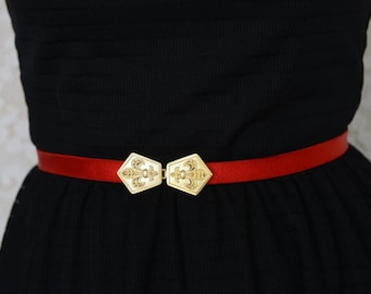 Red belt - Waist Belt - Dress Belt - Gold Belt - Bridesmaid Accessories - Bridesmaids Belt - jeweled Belt - Skinny Belt - Fleur de lis Belt