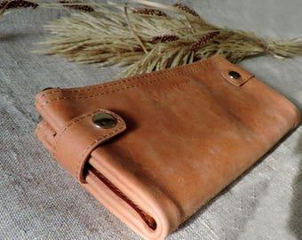 Leather wallet zipper card holder women's wallet purse phone large folding travel wallet Caramel long wallet leather clutch bifold wallet