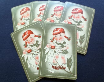 6 Sweet Girl with Daisy Vintage Linen Finish Playing Cards