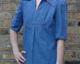 True vintage 1970s denim smock top blouse folk, S/M