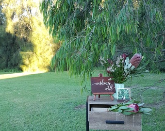 Wishing Well Wedding Sign, Rustic Reception Decoration
