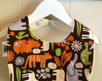 Zoo - Infant or Toddler Bib - Terry Cloth Backing - Reversible with ADJUSTABLE Snaps