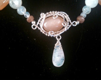 Moonstone necklace with Sunstone accents OOAK