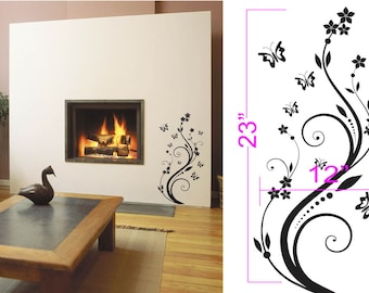 "Butterfly Wall Decal Sticker Removable 12"" Wide 23"" Tall in White or Black"