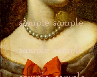 Digital Collage Sheet Instant Digital DownLoad Beautiful Painted Renaissance Woman Digital Art Graphics Gothic Art Print Pearl Necklace