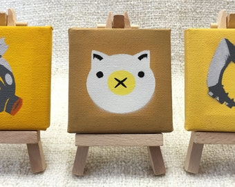 Overwatch Roadhog Spray Paint Mini Canvas Paintings & Wooden Easel