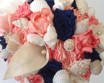 Custom Bespoke Coral, Navy and Ivory Peony, Calla Lily, Rose and Sea Shell Bridal Wedding Bouquet