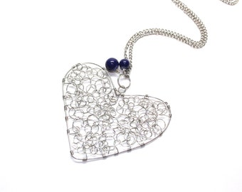 Wire heart pendant with navy blue glass beads and silver tone wire, curlicue wire wrapped heart pendant,
