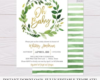 Greenery and Gold Baby Invitation, Printable Baby Shower Invitation, Baby Shower Invitation Printable, Shower Invite Download, Hadley Design