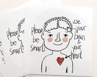 vegan sticker set of 3 heart and brain