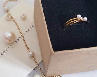 Dainty Freshwater Pearl Ring,Manmade cz diamond ring set,2mm,14k Gold,Gold filled Stacking Ring Set,Everyday Ring Set,Gift for her,Mum,Mom