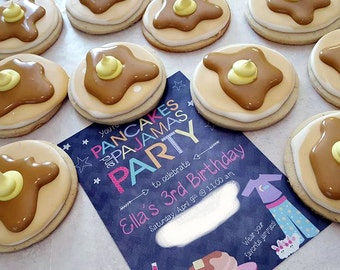 Pancake Cookies - Decorated Sugar Cookie - Birthday Party Favors - Pancakes and Pajamas Party - Birthday Party Cookies